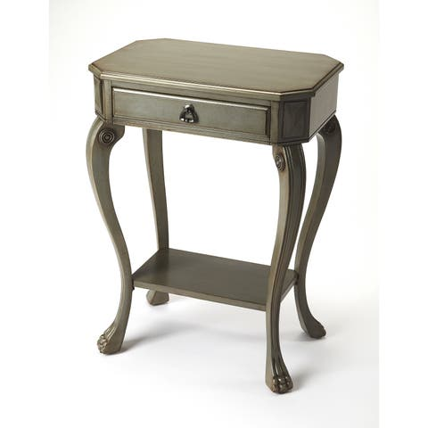 Butler Channing Traditional Rectangular Silver Satin Console Table - Gray
