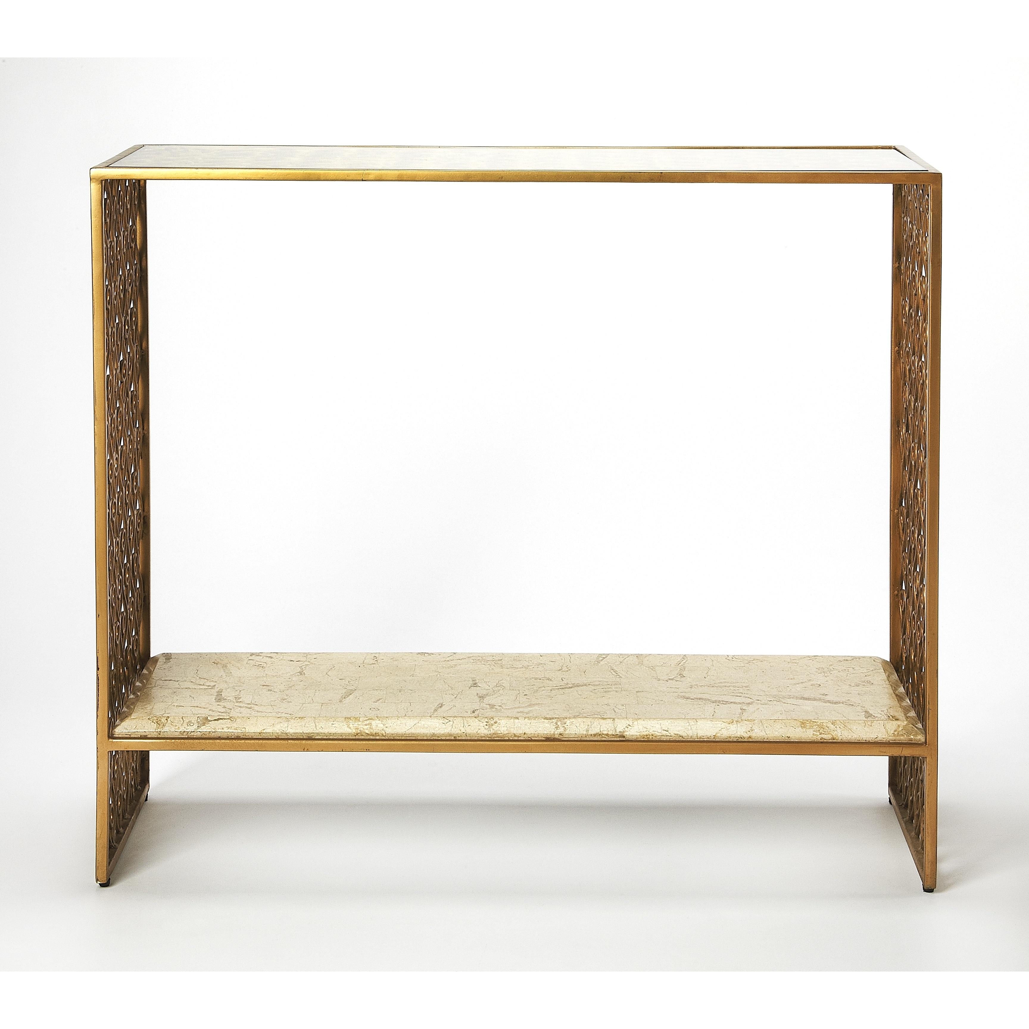 Fabulous Butler Cambria Transitional Fossil Stone And Metal Rectangular Console Table Gold Spiritservingveterans Wood Chair Design Ideas Spiritservingveteransorg