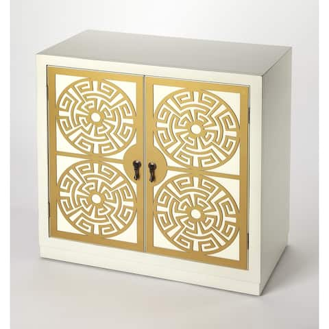 Handmade Butler Kiku Gold and White Accent Cabinet (Indonesia)