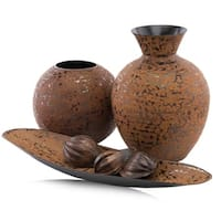 Modern Day Accents Florero Faux Leather Vase