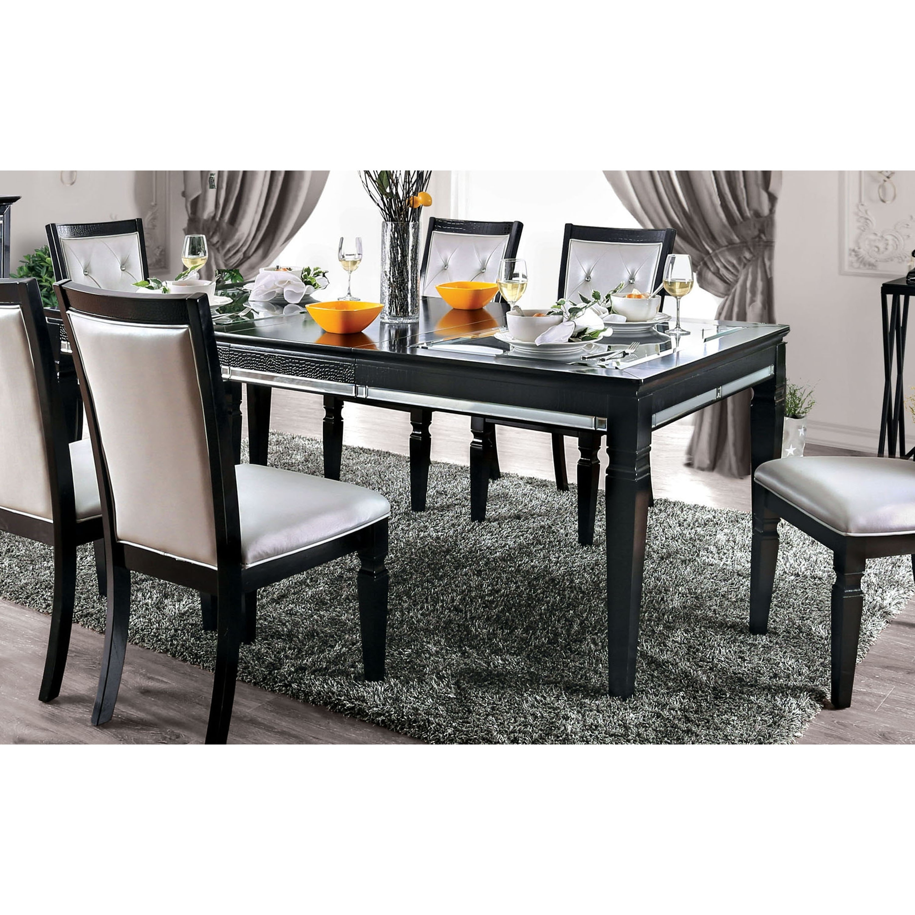 Silver Orchid Amann Contemporary 84 Inch Black Dining Table Overstock 27600014