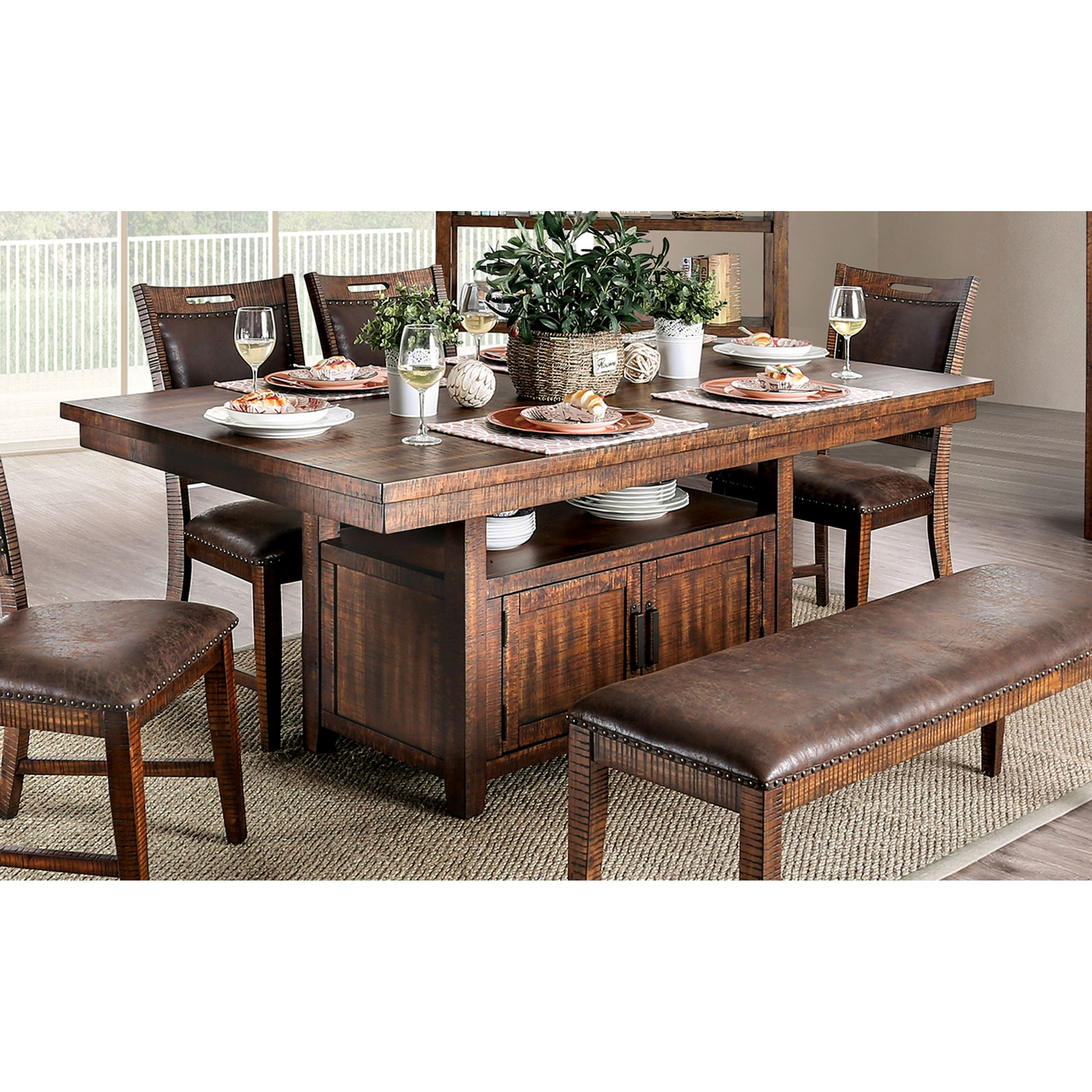 Furniture Of America Rainier Transitional 75 Inch Walnut Dining Table On Sale Overstock 27600022