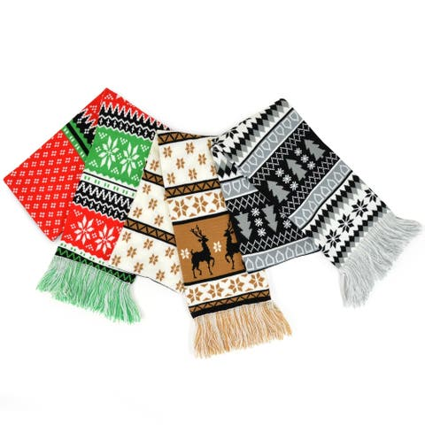 TeeHee Christmas Holiday Unisex Double Layer Knitted Scarves 3-Pack Winter-Mix