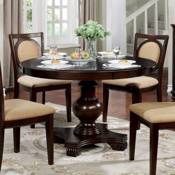 shop flanders transitional 48-inch brown cherry round
