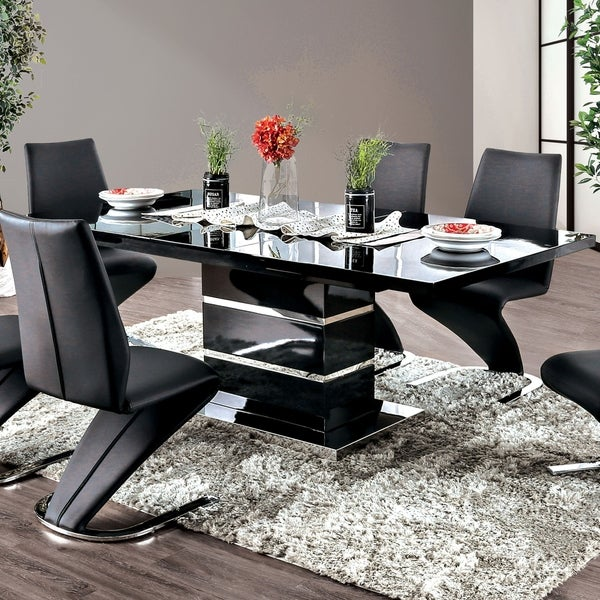 Strick & Bolton Ikemura Black 78-inch Expandable Dining Table. Opens flyout.
