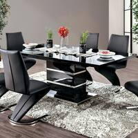 Furniture of America Assel Contemporary 78-inch Black and Silver Dining Table
