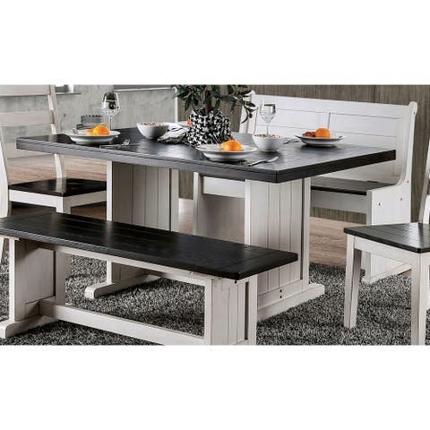 The Gray Barn Selenis Rustic White/Espresso Trestle Dining Table