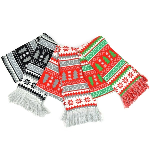 Christmas Scarf.Teehee Christmas Holiday Winter Unisex Double Layer Knitted Scarves 3 Pack Winter 2
