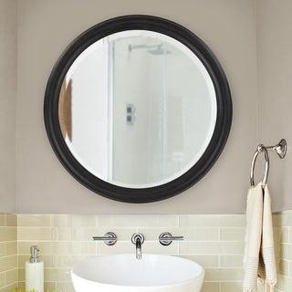Copper Grove Lilas Matte Black Round Wall Mirror