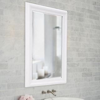 Copper Grove Lilas Matte White Rectangular Wall Mirror