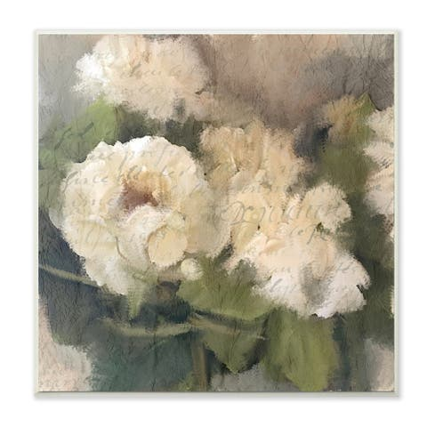 The Stupell Home Decor Soft Textural White Summer Hydrangeas Wall Plaque Art, 12 x 12, Proudly Made in USA - Multi - 12 x 12