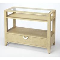 Butler Amelle Modern Rectangular Cream Raffia Console Table - Beige