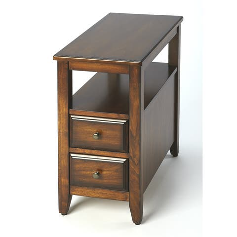 Butler Marcus Transitional Antique Cherry Rectangular Chairside Table - Dark Brown