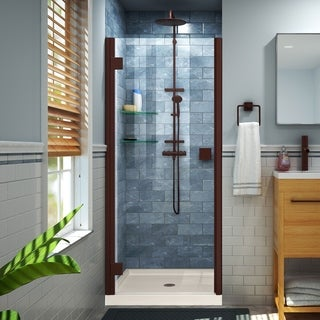 DreamLine Lumen 36 in. D x 42 in. W by 74 3/4 in. H Hinged Shower Door and Base Kit (Beige - Oil Rubbed Bronze Finish)