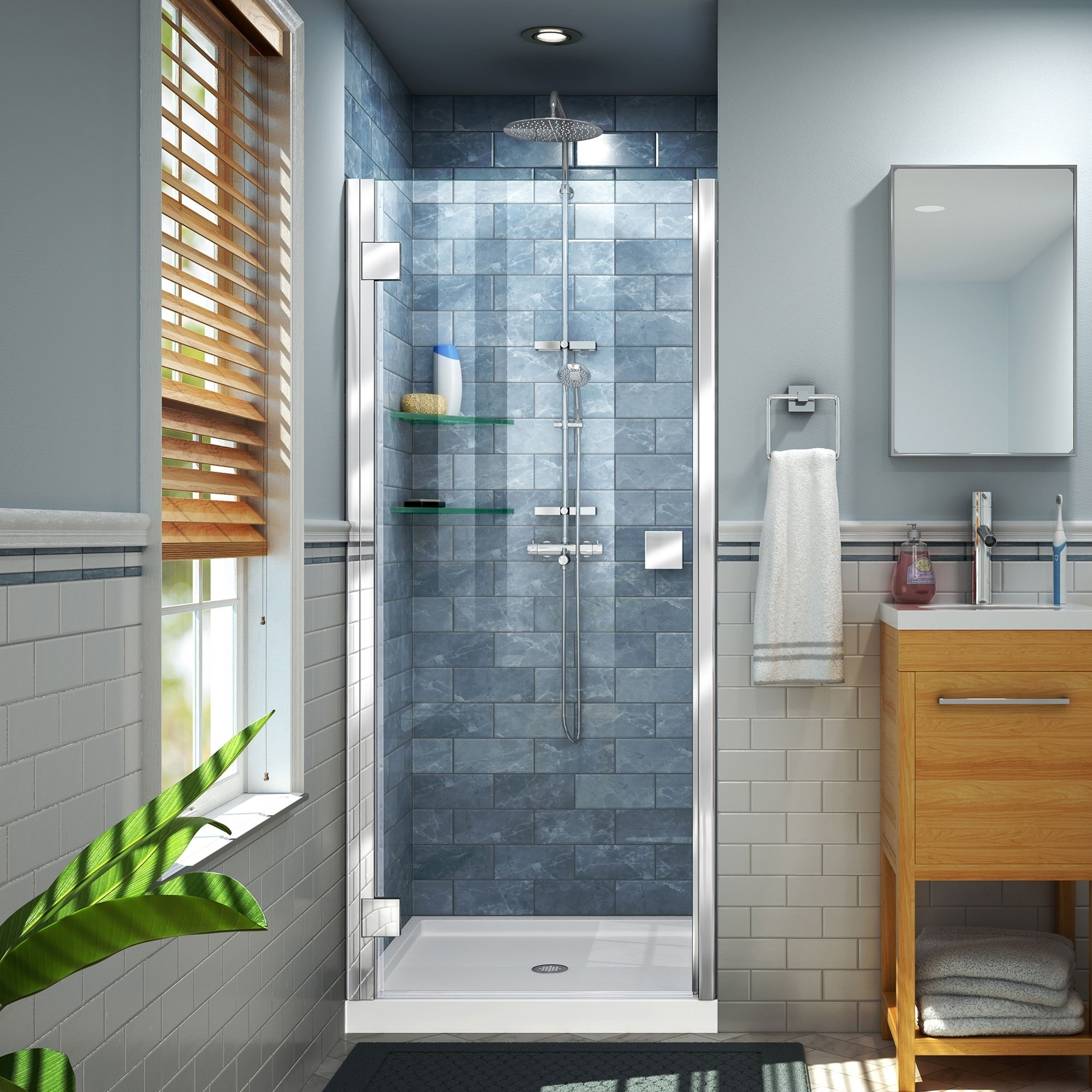 DreamLine Lumen 36 in. D x 42 in. W by 74 3/4 in. H Hinged Shower Door and Base Kit (Black - Nickel Finish)