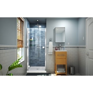 DreamLine Lumen 34 in. D x 42 in. W by 74 3/4 in. H Hinged Shower Door and Base Kit - 34 x 42 (White - Chrome Finish)