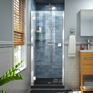 DreamLine Lumen 34 in. D x 42 in. W by 74 3/4 in. H Hinged Shower Door and Base Kit - 34 x 42 (Black - Chrome Finish)