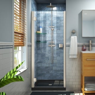 DreamLine Lumen 36 in. D x 36 in. W by 74 3/4 in. H Hinged Shower Door and Base Kit (Black - Nickel Finish)