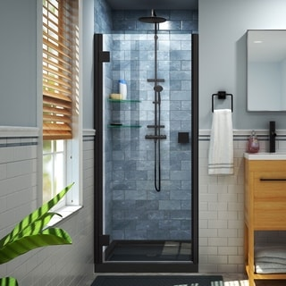 DreamLine Lumen 36 in. D x 36 in. W by 74 3/4 in. H Hinged Shower Door and Base Kit (Black - Satin)