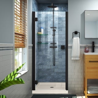 DreamLine Lumen 32 in. D x 42 in. W by 74 3/4 in. H Hinged Shower Door and Base Kit (Beige - Satin)