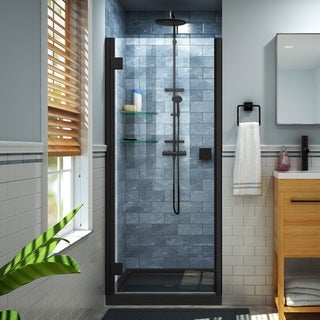 DreamLine Lumen 32 in. D x 42 in. W by 74 3/4 in. H Hinged Shower Door and Base Kit (Black - Satin)