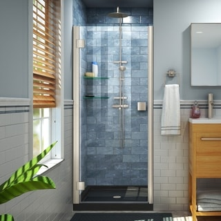 DreamLine Lumen 32 in. D x 42 in. W by 74 3/4 in. H Hinged Shower Door and Base Kit (Black - Nickel Finish)