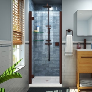 DreamLine Lumen 42 in. D x 42 in. W by 74 3/4 in. H Hinged Shower Door and Base Kit (White - Oil Rubbed Bronze Finish)