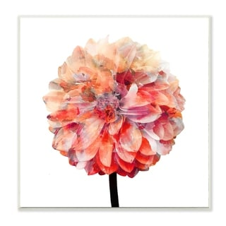 The Stupell Home Decor Bright Coral Watercolor Bloom Dahlia Flower Wall Plaque Art, 12 x 12, Proudly Made in USA