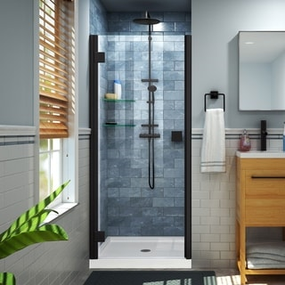DreamLine Lumen 34-35 in. W by 72 in. H Semi-Frameless Hinged Shower Door - 34 - 35 W (Satin Black Finish)