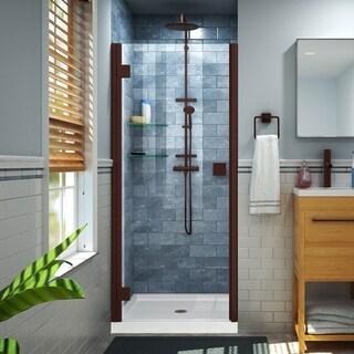 DreamLine Lumen 34-35 in. W by 72 in. H Semi-Frameless Hinged Shower Door - 34 - 35 W (Oil Rubbed Bronze Finish)