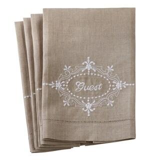 Linen Embroidery Design Hemstitch Towels (Set of 4)