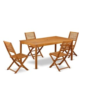 CMBS5CWNA This 5 Piece Acacia Hardwood Balcony Sets includes one outdoor table and 4 foldable outdoor chairs