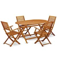 DIBS5CANA This 5 Piece Acacia Wooden Balcony Sets includes a single outdoor table and 4 foldable outdoor chairs
