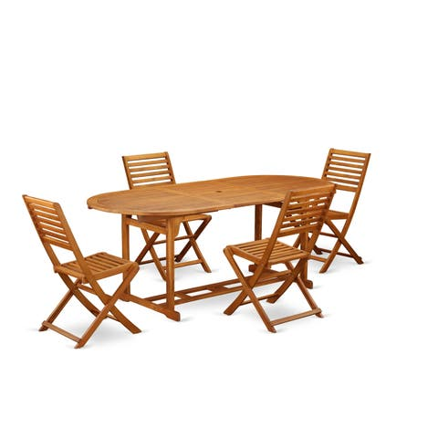 BSBS5CWNA This 5 Pc Acacia Wooden Outside patio Sets includes one outdoor table and 4 chairs