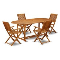 BSCM5CANA This 5 Pc Acacia Backyard Sets provides you one outdoor table and four patio dining chairs