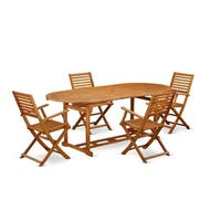 BSBS5CANA This 5 Piece Acacia Wood Backyard Dining Sets includes one outdoor table and 4 chairs