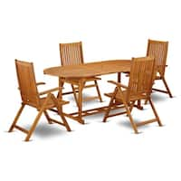 BSCN5NC5N This 5 Pc Acacia Wooden Patio Dining Sets includes one particular outdoor table and 4 chairs