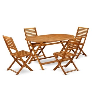 DIBS5CWNA This 5 Piece Acacia Wooden Courtyard Dining Sets offers an outdoor table and 4 chairs