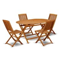 DICM5CWNA This 5 Piece Acacia Wooden Patio Dining Sets includes one particular outdoor table and four chairs