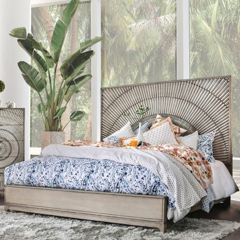The Curated Nomad Levant Transitional Antique Grey Panel Bed