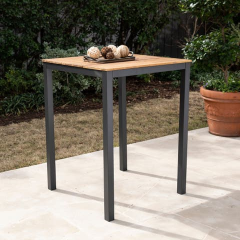 Benevidez Contemporary Gray/ Natural Wood Outdoor Pub Table by Havenside Home