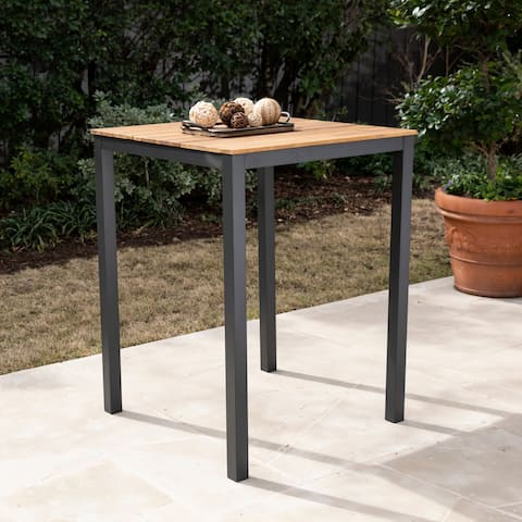 Havenside Home Benevidez Contemporary Gray/ Natural Wood Outdoor Pub Table