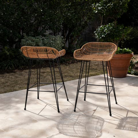 Havenside Home Leandro Contemporary Natural/Black Faux Rattan/Iron Outdoor Stools (Set of 2)