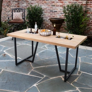 Havenside Home Kinwest Contemporary Natural/ Gray Wood Outdoor Dining Table
