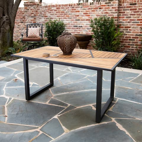 Havenside Home Vincente Contemporary Gray/ Natural Wood Outdoor Dining Table