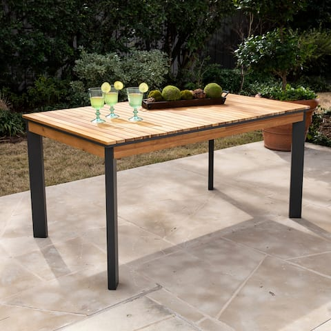 Havenside Home Viola Contemporary Natural/ Gray Wood Outdoor Dining Table