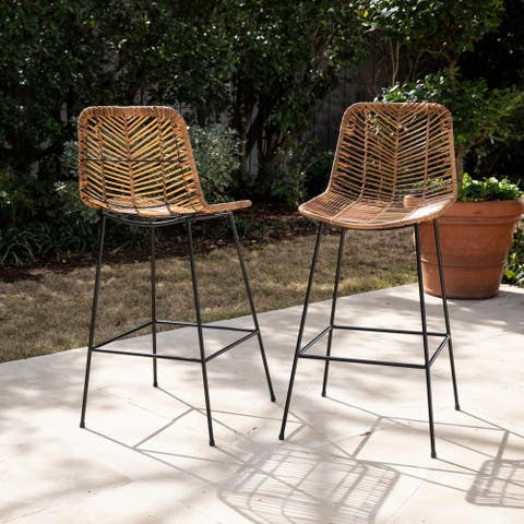 Rialto Modern Natural/ Black Faux Rattan Outdoor Stools (Set of 2) by Havenside Home