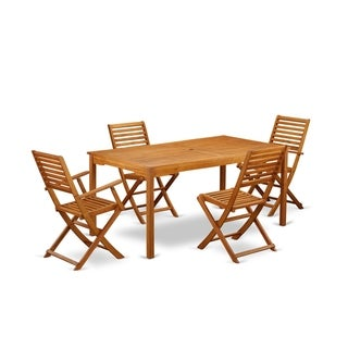 CMBS52CANA 5 Pc Acacia Wood Outdoor Patio Set offers an Outdoor Table & 4 Foldable Chairs