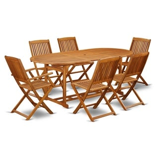 BSCM72CANA 7 Pc Acacia Wood Outdoor Patio Set offers an Outdoor Table & 6 Foldable Chairs