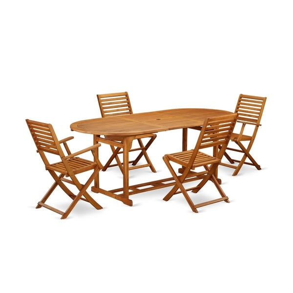BSBS52CANA 5 Pc Acacia Wood Outdoor Patio Set offers an Outdoor Table & 4 Foldable Chairs